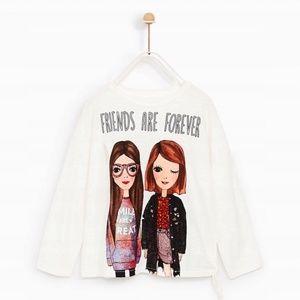Zara girls white shirt with girls print